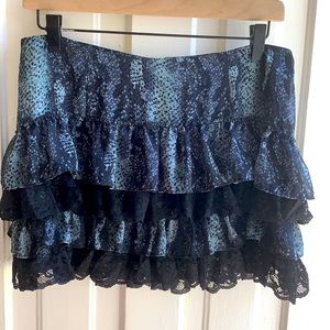 GUESS Snakeskin Print Lace Tiered Skirt